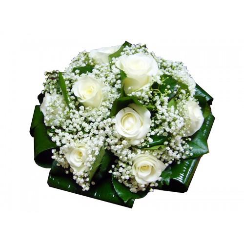 Buchet Mireasa Trandafiri Albi Si Floarea Miresei