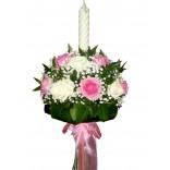 Lumanare botez trandafiri roz si albi